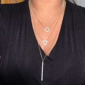 3 layer gold thin chain necklace